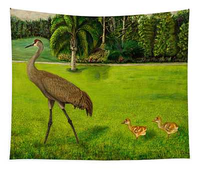 Painted Sandhill Crane With Chicks  Tapestry