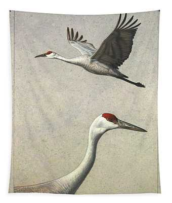 Tapestry featuring the painting Sandhill Cranes by James W Johnson