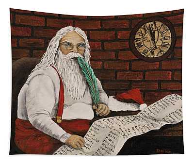 Santa Is Checking His List Tapestry
