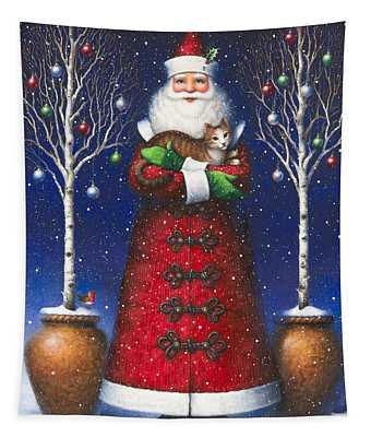 Santa's Cat Tapestry