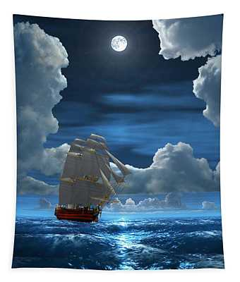 Santisima Trinida In The Moonlight 2 Tapestry