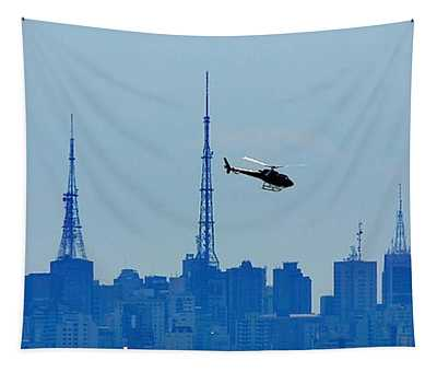 Sao Paulo - Paulista Skyline And Helicopter Tapestry