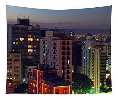 Sao Paulo Downtown At Dusk Tapestry