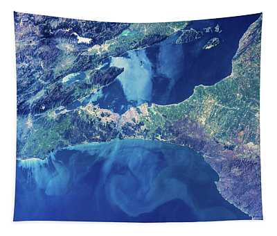 Satellite View Of Istanbul With Sea Tapestry