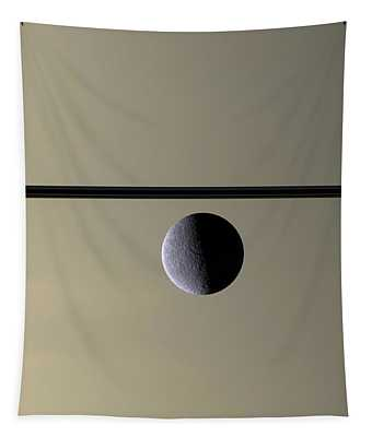 Saturn Rhea Contemporary Abstract Tapestry
