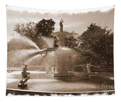 Savannah Fountain In Sepia Tapestry