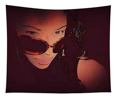 Futuristic Women Sunglasses Fashion Style Art Print Ai P. Nilson  Tapestry