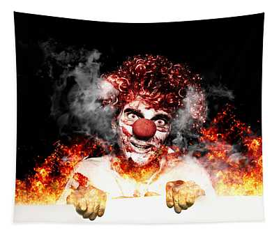 Scary Clown Holding Blank Board In Flames And Fire Tapestry