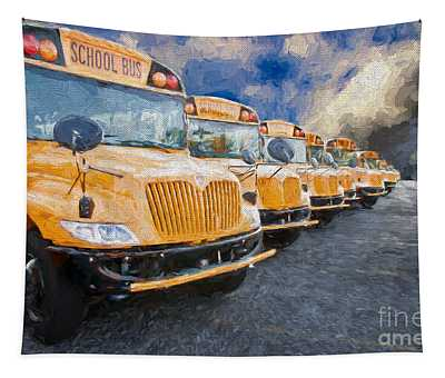 School Bus Lot Painterly Tapestry
