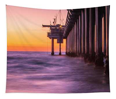 Scripps Pier Sunset Tapestry