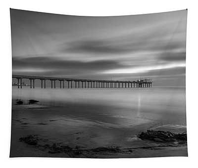 Scripps Pier Twilight - Black And White Tapestry