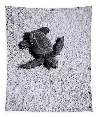 Sea Turtle In Black And White Tapestry