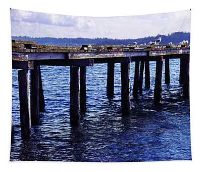 Seagulls On A Pier, Whidbey Island Tapestry
