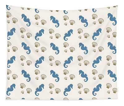 Seahorse And Shells Pattern Tapestry