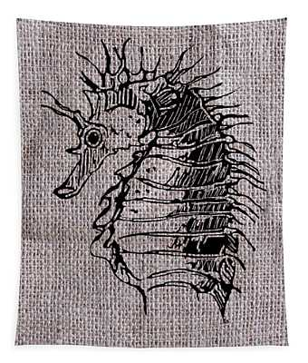 Seahorse On Burlap Tapestry