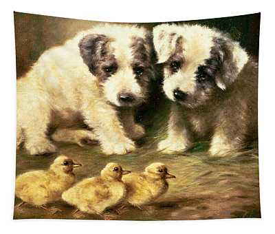 Sealyham Puppies And Ducklings Tapestry
