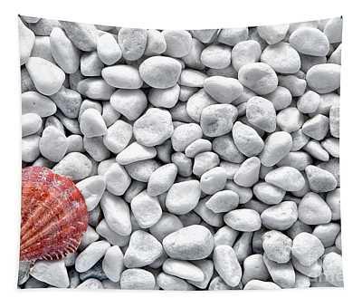 Seashell On White Pebbles Tapestry
