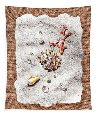 Seashells Coral Pearls And Water  Drops Tapestry