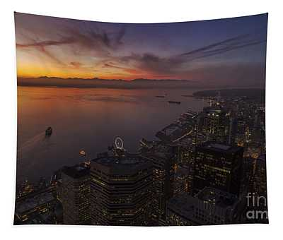 Seattle Ferry Sunset Tapestry