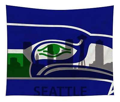 Seattle Seahawks On Seattle Skyline Tapestry