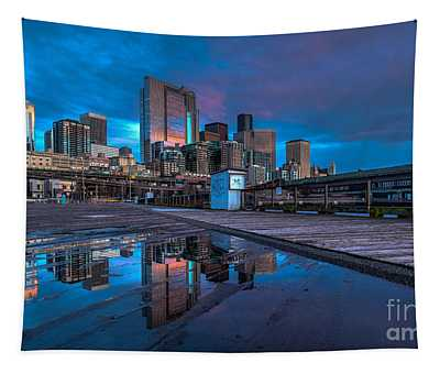 Seattle Skyline Pier Angles Tapestry