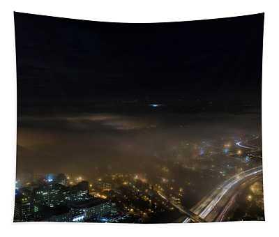 Seattle Sodo Fog And Moonlight Tapestry