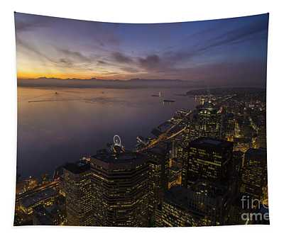 Seattle Sunset Dusk Colors Tapestry