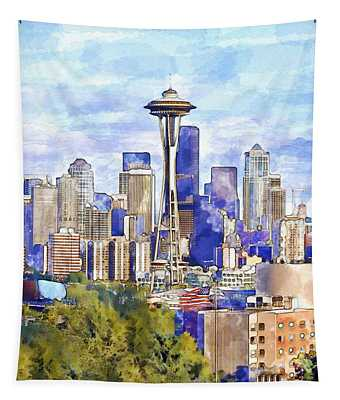 Seattle View In Watercolor Tapestry