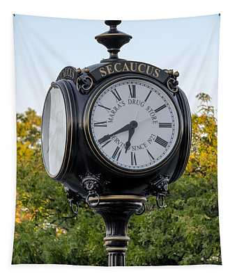 Tapestry featuring the photograph Secaucus Clock Marras Drugs by Susan Candelario
