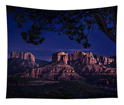 Sedona Cathedral Rock Post Sunset Glow Tapestry