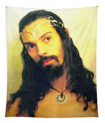 Tapestry featuring the mixed media Self Portrait The Elven King Jesus by Shawn Dall