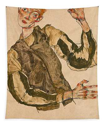 Self-portrait With Striped Sleeves Tapestry