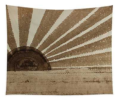 Sepia Sunset Original Painting Tapestry