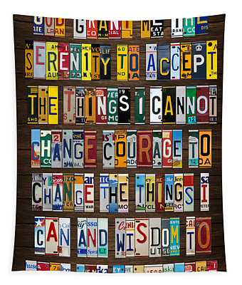 Serenity Prayer Reinhold Niebuhr Recycled Vintage American License Plate Letter Art Tapestry