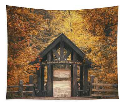 Red Covered Bridge Wall Tapestries