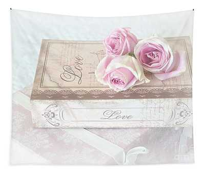 Shabby Chic Cottage Pink Roses Love Wall Print - Romantic Love Roses Wall Decor Tapestry