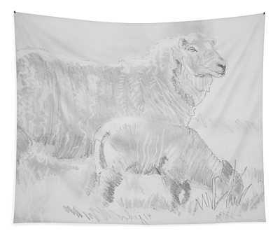 Sheep Lamb Pencil Drawing Tapestry