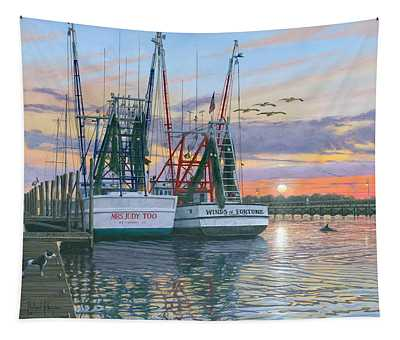 Shem Creek Shrimpers Charleston  Tapestry