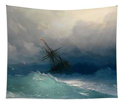 Ship On Stormy Seas Tapestry