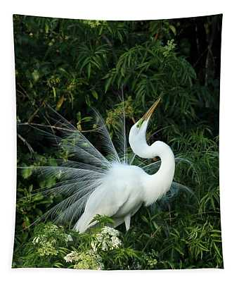 Showy Great White Egret Tapestry