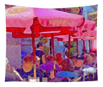 Sidewalk Cafe Digital Painting Tapestry