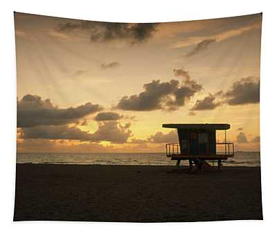 Silhouette Of A Lifeguard Hut Tapestry