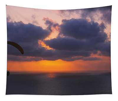 Silhouette Of A Person Paragliding Tapestry
