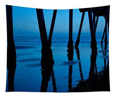 Silhouette Of A Pier, Hermosa Beach Tapestry