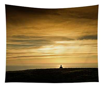 Silhouette Of A Woman Meditating On Top Tapestry