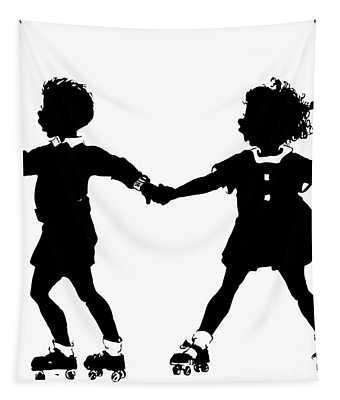 Silhouette Of Children Rollerskating Tapestry