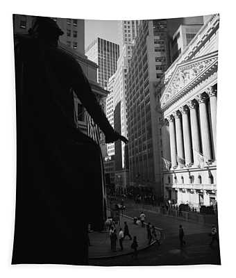 Silhouette Of George Washington Statue Tapestry