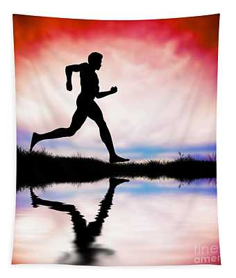 Silhouette Of Man Running At Sunset Tapestry