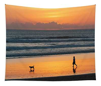 Silhouette Of People And Dog Walking Tapestry