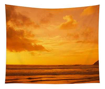 Silhouette Of Rock Formations In Water Tapestry